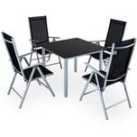 Casaria Aluminium Sitzgruppe 4+1 Vertellbare Hochlehner Silber