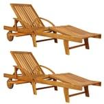 Deuba Sonnenliege Tami Sun Akazien Holz verstellbar Tisch Liege 2er Set
