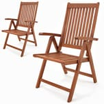 Casaria 2er Set Gartenstuhl Vanamo Klappstuhl 5-Fach Verstellbar FSC®-zertifiziertes Eukalyptusholz