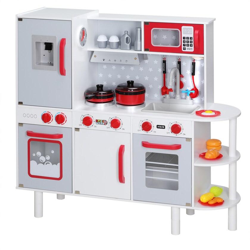 Spielkueche Junior Chef höhenverstellbar Kinderküche mit Licht LED Uhr 38tlg Zubehör Holzküche