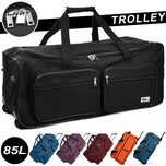 Große Reisetasche mit Trolleyfunktion 85L schwarz - Hängeschloss