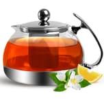 Teekanne mit Teesieb aus Edelstahl / Glas 1,2 Liter