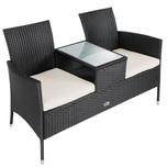 Casaria Gartenbank Poly Rattan Tisch inkl. 7cm Auflagen Schwarz