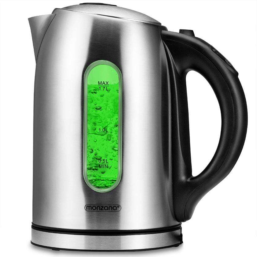 Monzana Wasserkocher BPA Frei Temperatureinstellung Silber 1,7 Liter