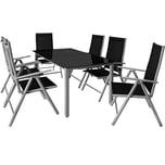 Casaria Aluminium Sitzgruppe Bern 6+1 Verstellbare Hochlehner Silber