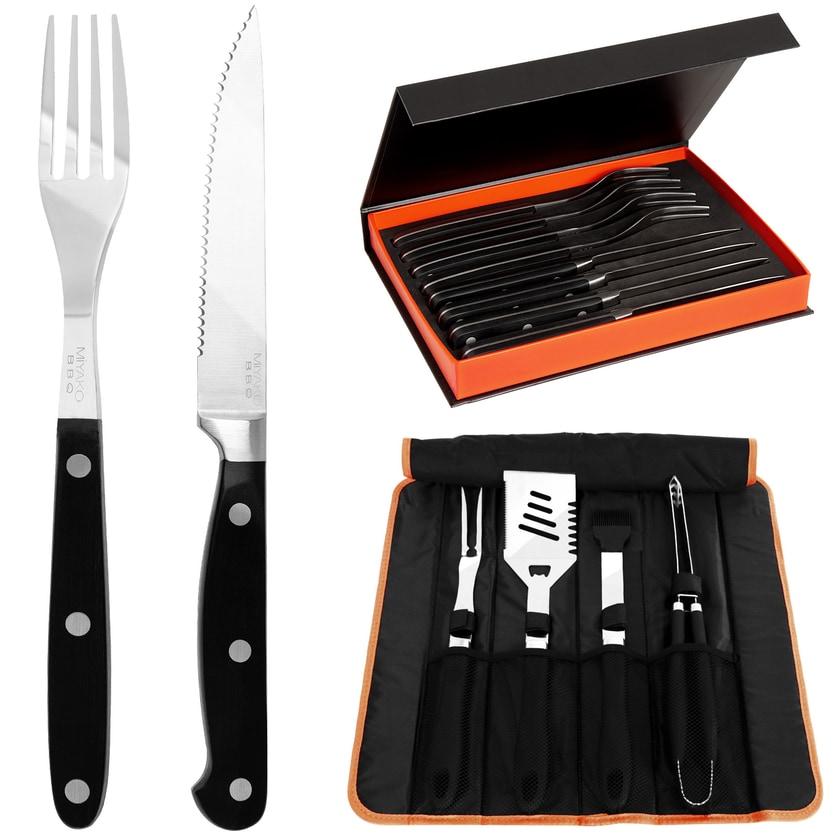 Deuba 16-tlg Steakbesteck Set inkl. 5-tlg. Grillbesteck Set aus Edelstahl