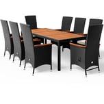 Casaria Poly Rattan 8+1 Sitzgruppe Akazie Holz 2 neigbare Rückenlehnen Gartenmöbel Set