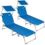 Deuba 2x Sonnenliege Ibiza Aluminium Sonnendach 190cm Blau