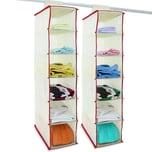 Deuba Kleiderschrank Ordnungssystem weiß/rot