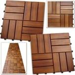 Deuba 11x Holzfliesen aus Akazie Stecksystem