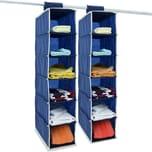 Deuba Kleiderschrank Ordnungssystem blau/weiß