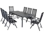 Casaria Aluminium Sitzgruppe Bern 8+1 WPC Tisch Hochlehner