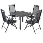 Casaria Aluminium Sitzgruppe Bern 4+1 WPC Tisch Hochlehner
