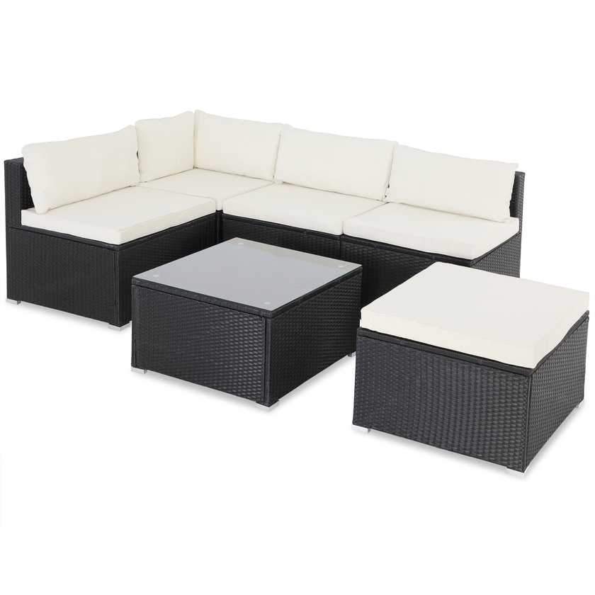 Casaria Poly Rattan Lounge Gartenmöbel Set Schwarz / Creme