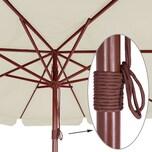 Deuba Sonnenschirm Holz UV-Schutz 40+ Ø 330cm Creme