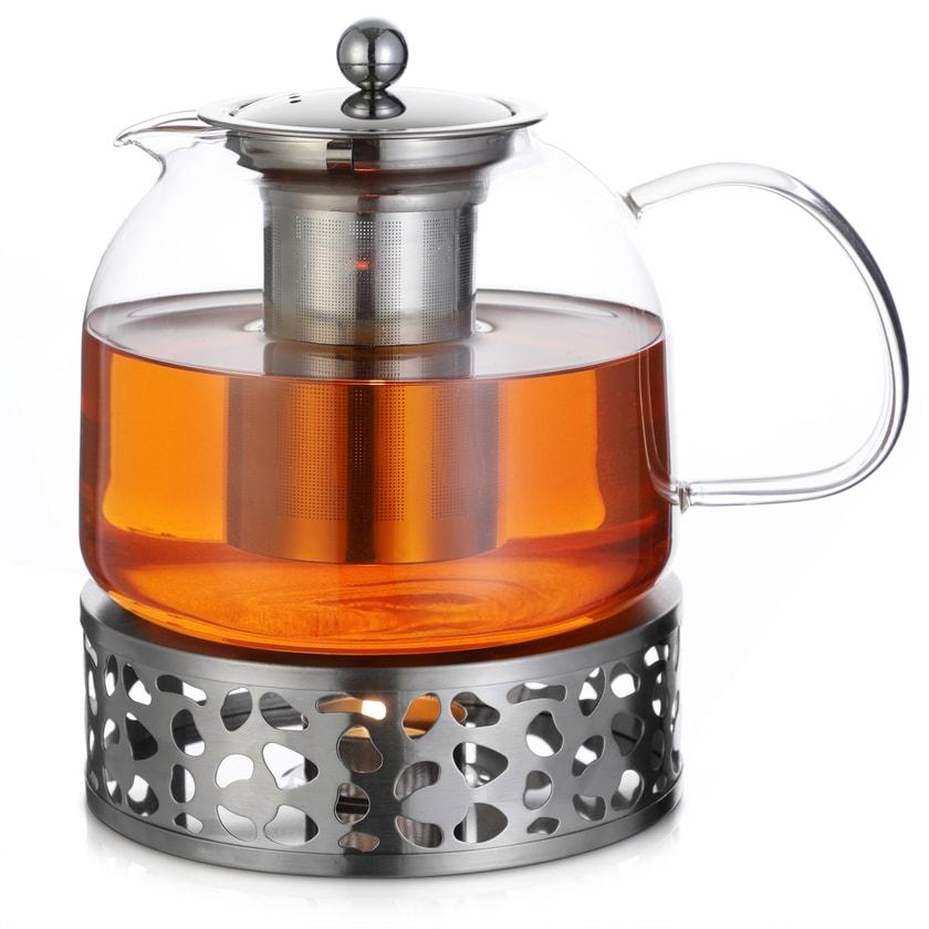 Monzana Teekanne Glas mit Edelstahl Stövchen und Sieb 1,5 L