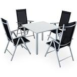 Casaria 4+1 Sitzgruppe Aluminium Verstellbare Lehne Milchglas Anthrazit