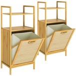 Casaria 2er Set Wäschekorb Bambus mit Ablage