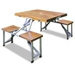 Deuba Alu Campingtisch Sitzgruppe Klappbar Sonnenschirmhalterung Holz