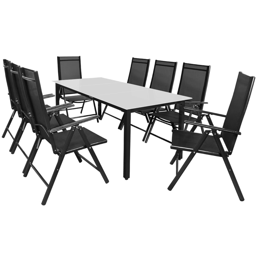 Casaria Aluminium Sitzgruppe Bern 8+1 Verstellbare Hochlehner Anthrazit