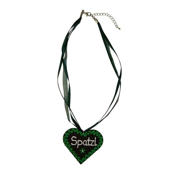 Edelnice Halskette Filzherz Spatzl grün