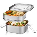 GEFU 12746 Edelstahl Lunchbox ENDURE doppelstöckig, 1000 ml + 800 ml