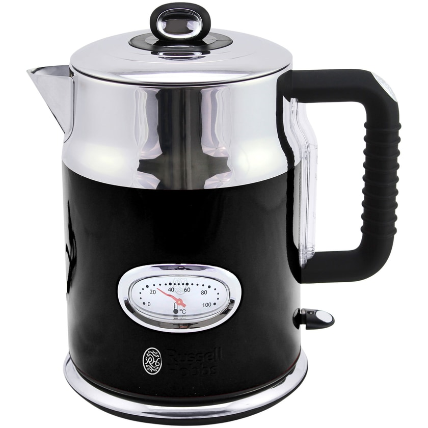Russell Hobbs 21671-70 Retro Classic Noir Edelstahl Wasserkocher 1,7 Liter, 2.400 Watt