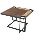 FineBuy Couchtisch 60x40x60 cm Massivholz Dunkelbraun