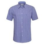 Almsach Kurzarm Trachtenhemd Herren Blau