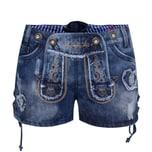 Krüger Dirndl Jeans-Lederhose Damen Blau