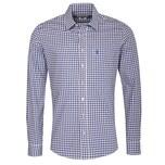 Almsach Trachtenhemd Herren Beige-Blau