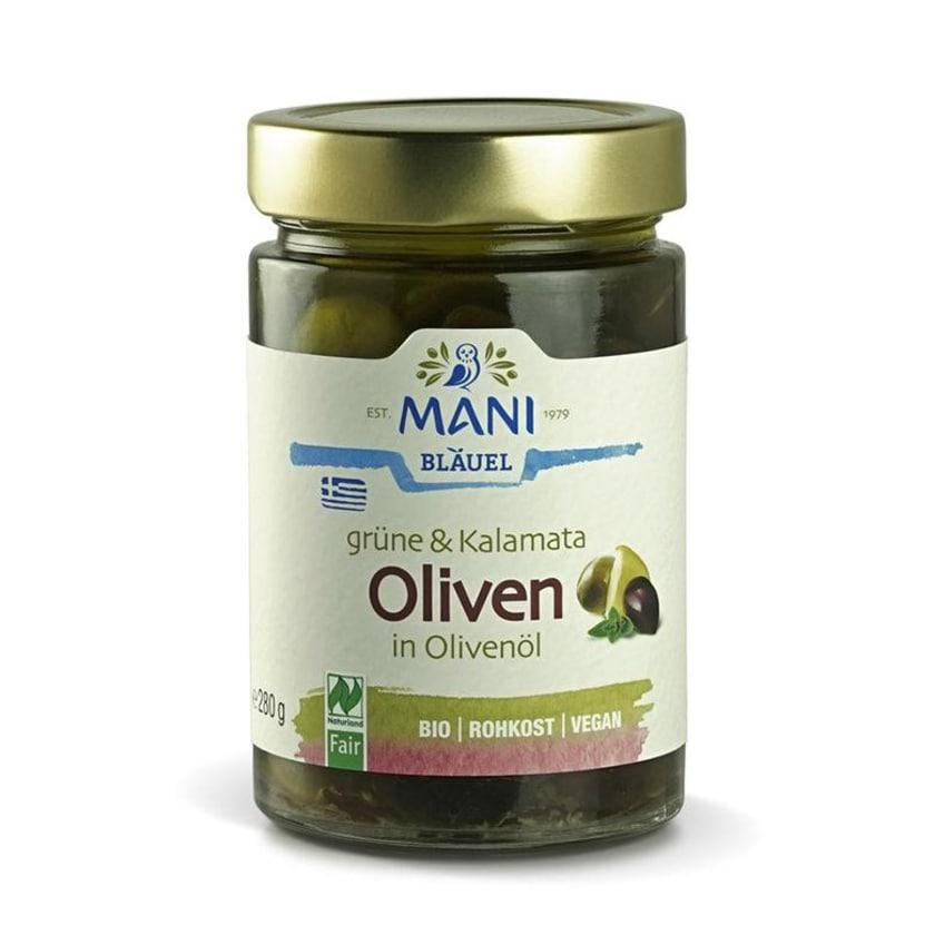 Mani Bläuel Grüne & Kalamata Oliven in Olivenöl, bio 280g