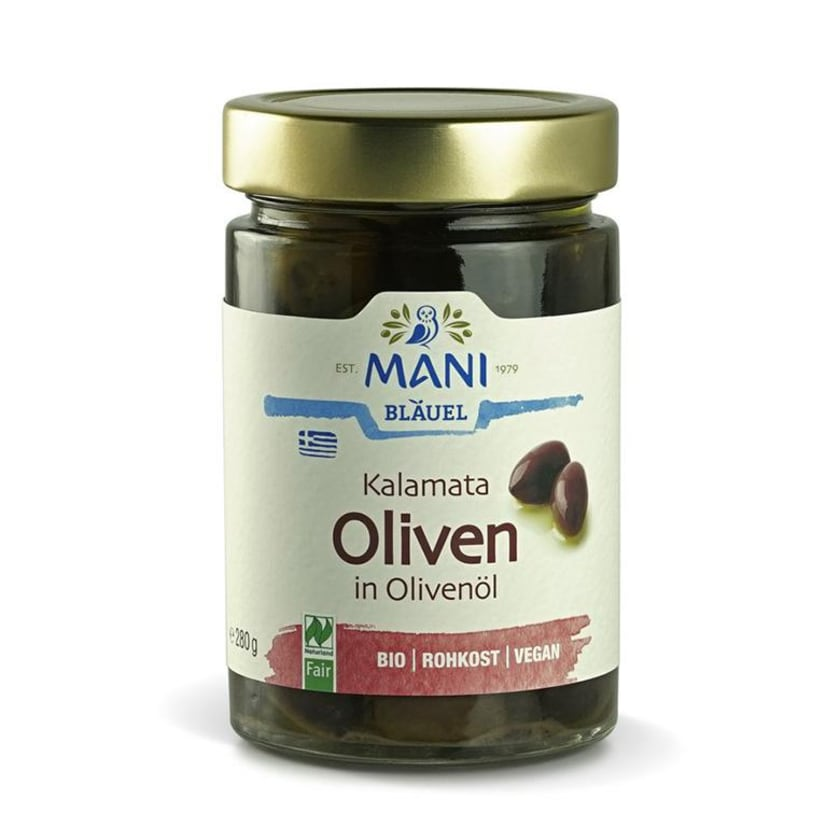 Mani Bläuel Kalamata Oliven in Olivenöl 280g