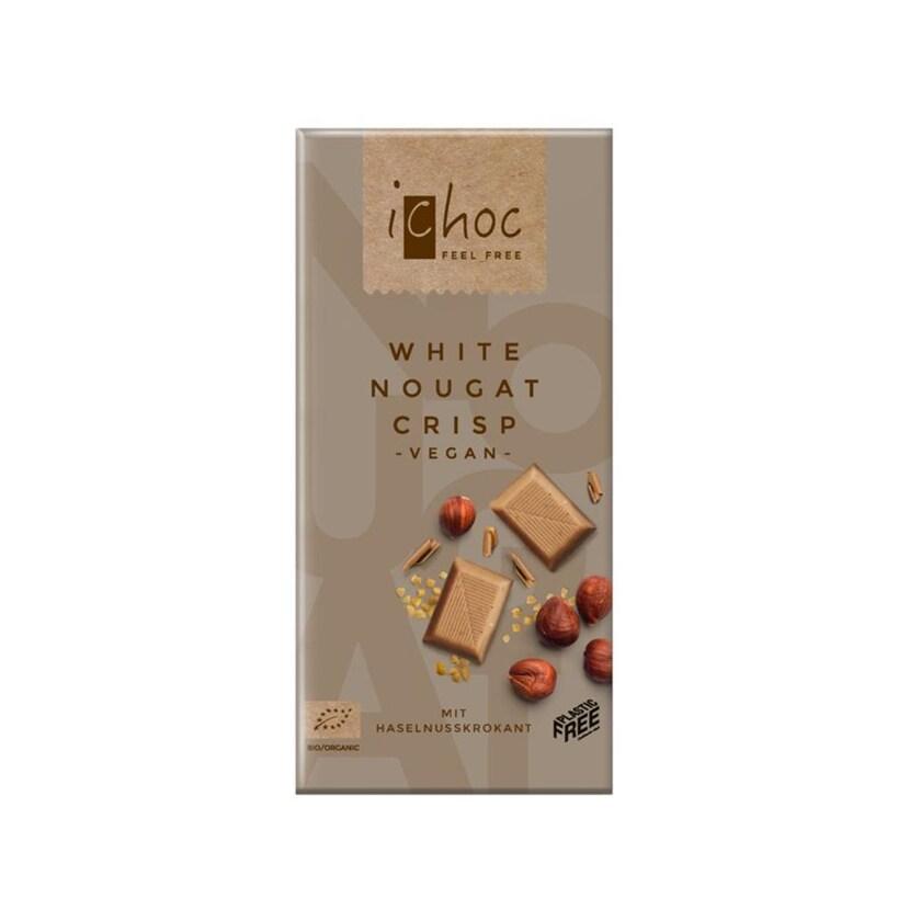 iChoc Bio White Nougat Crisp Reismilchschokolade 80g