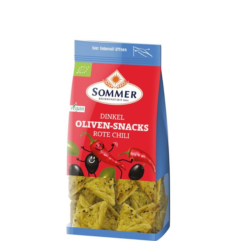 Sommer Dinkel Oliven-Snacks Rote Chili 150g Bio