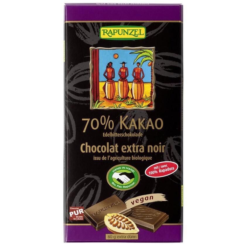 Rapunzel Bio Edelbitter Schokolade 70% Kakao (Rapadura) 80g