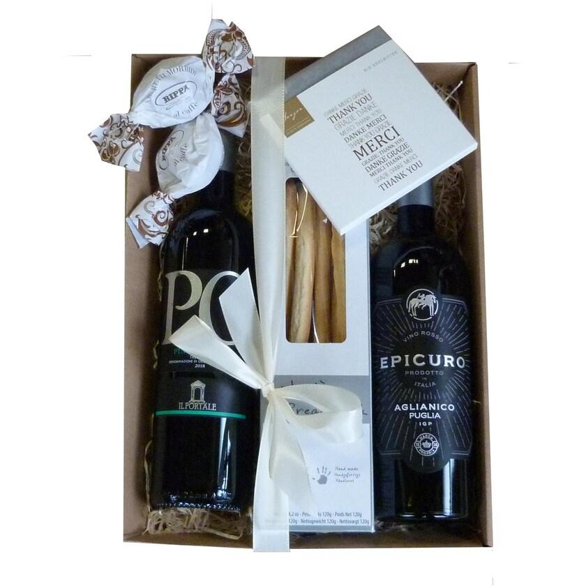 Geschenkbox Danke mit Wein und 'Danke' Schokolade 5 tlg.