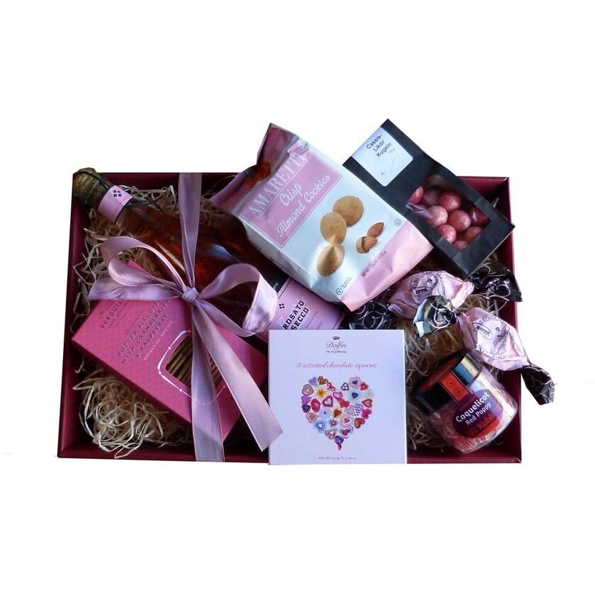 Geschenkkorb Herzliche Grüße mit Prosecco und Naschwerk 7 teilig