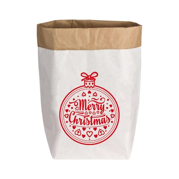 17;30 Paperbag Gr. M Weihnachtskugel weiß/rot