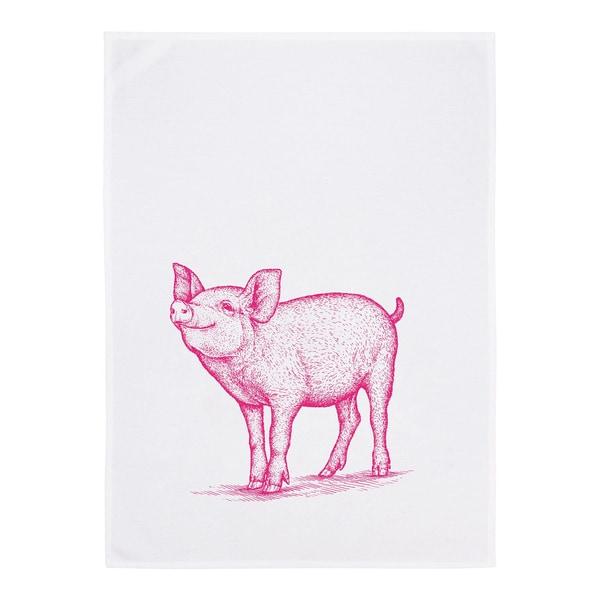 17;30 Geschirrtuch Schweinchen weiß/rosa
