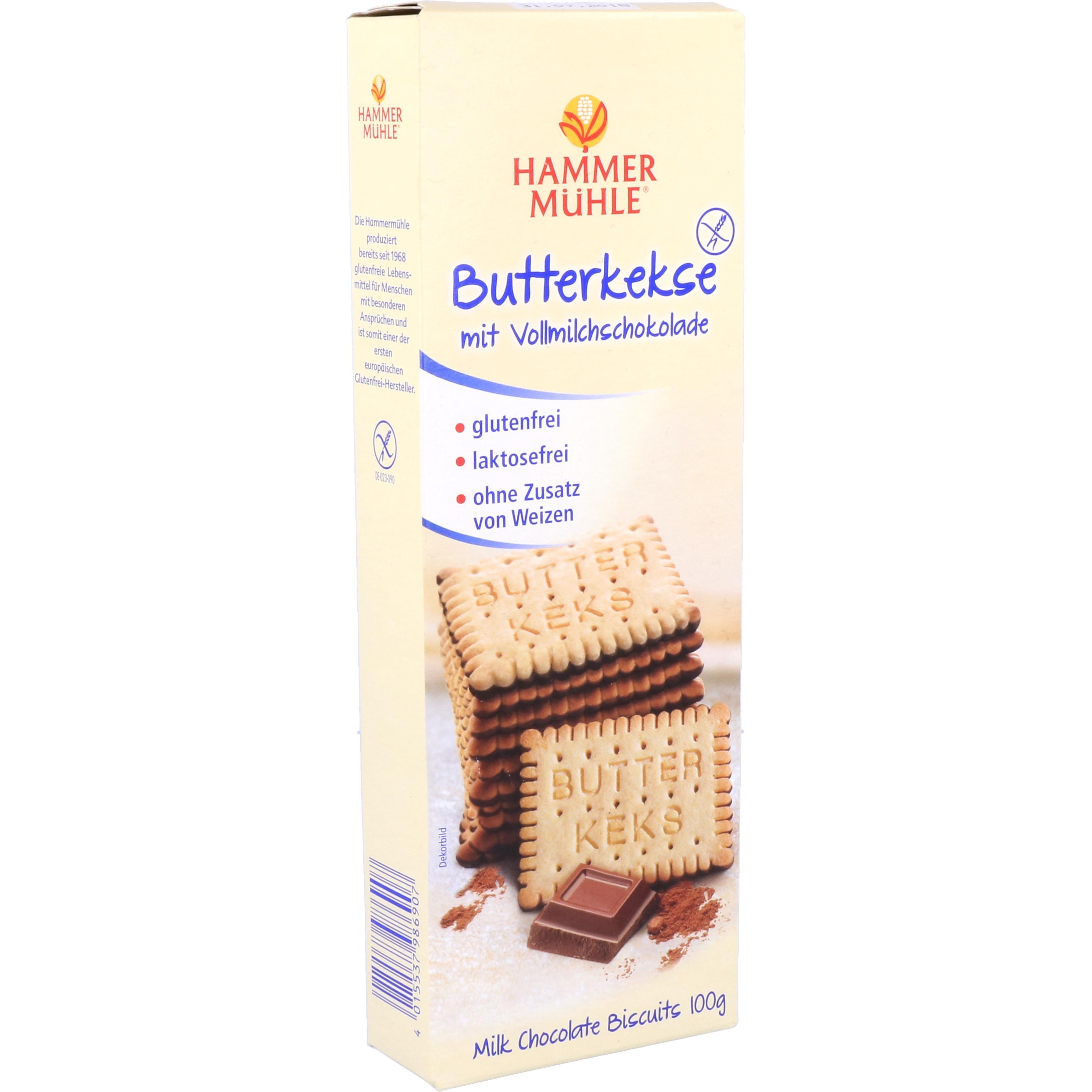 Hammermühle Butterkekse mit Vollmilchschokolade 100g