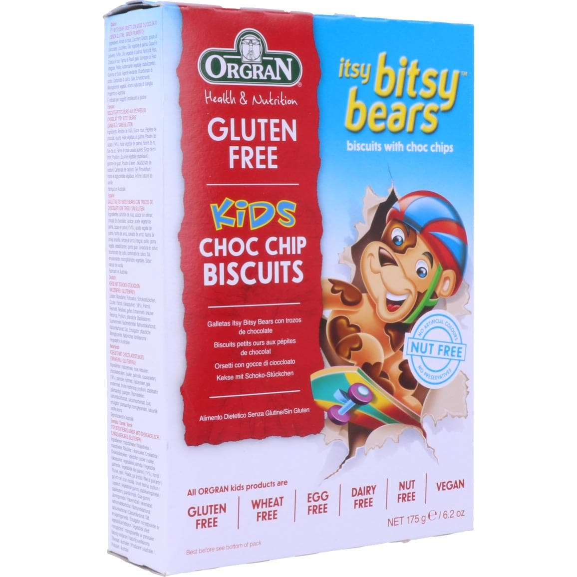 Orgran Itsy Bitsy Bears Kids Choc Chip Biscuits 175g