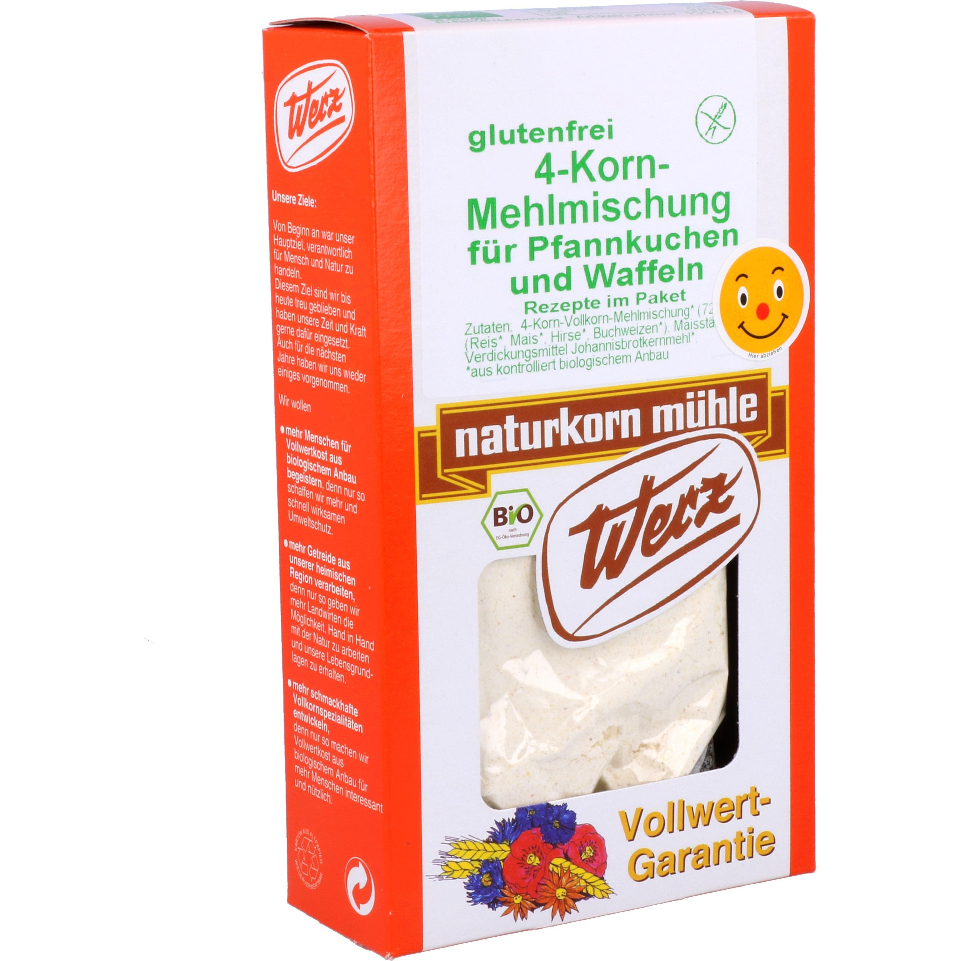 Werz Bio 4-Korn Pfannkuchen + Waffeln Mehlmischung Rezept im Paket 250g