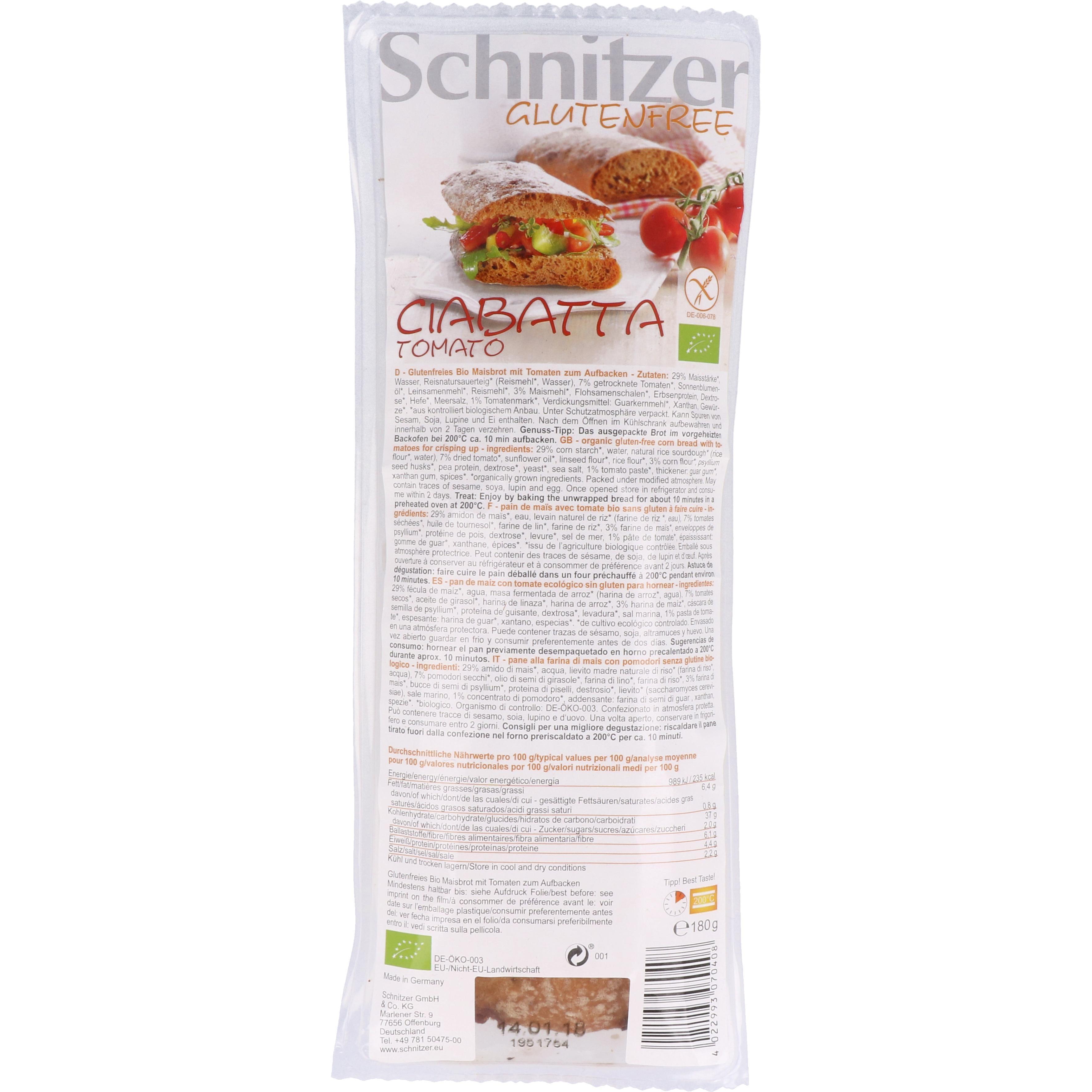 Schnitzer Bio Ciabatta Tomato 150g