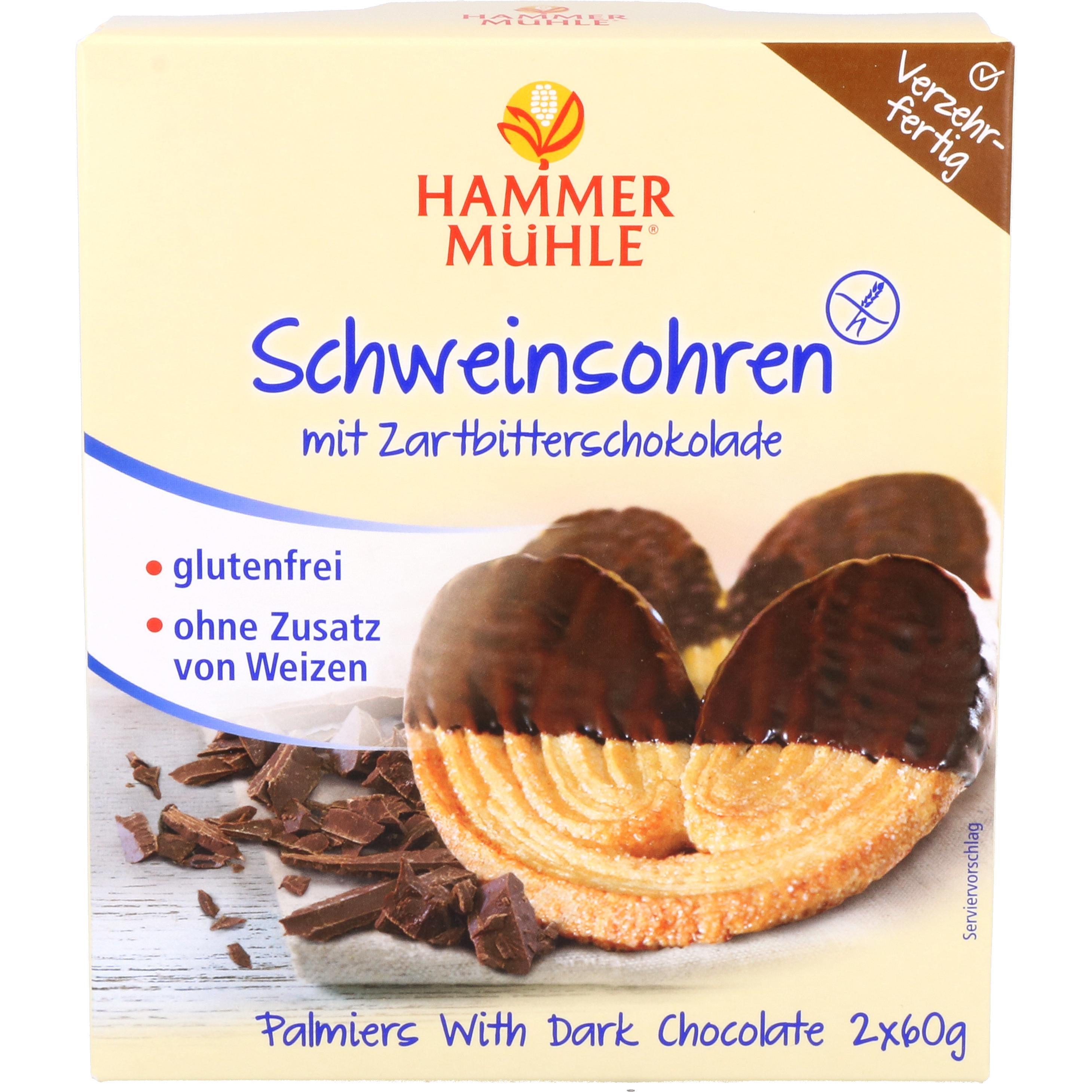 Hammermühle Schweinsohren mit Zartbitterschokolade 120g