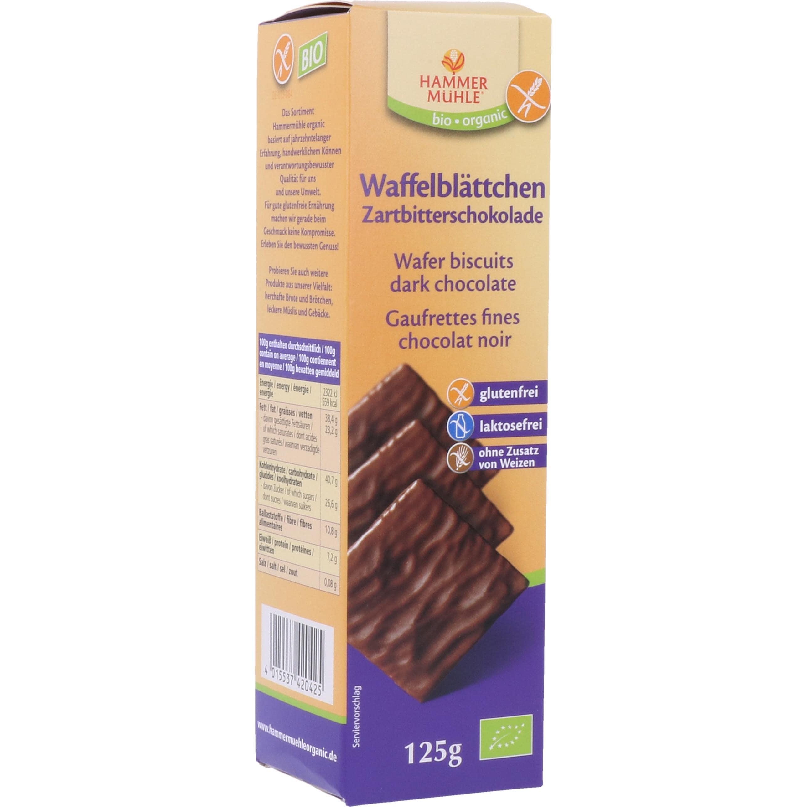 Hammermühle Organic Bio Waffelblättchen Zartbitter 125g