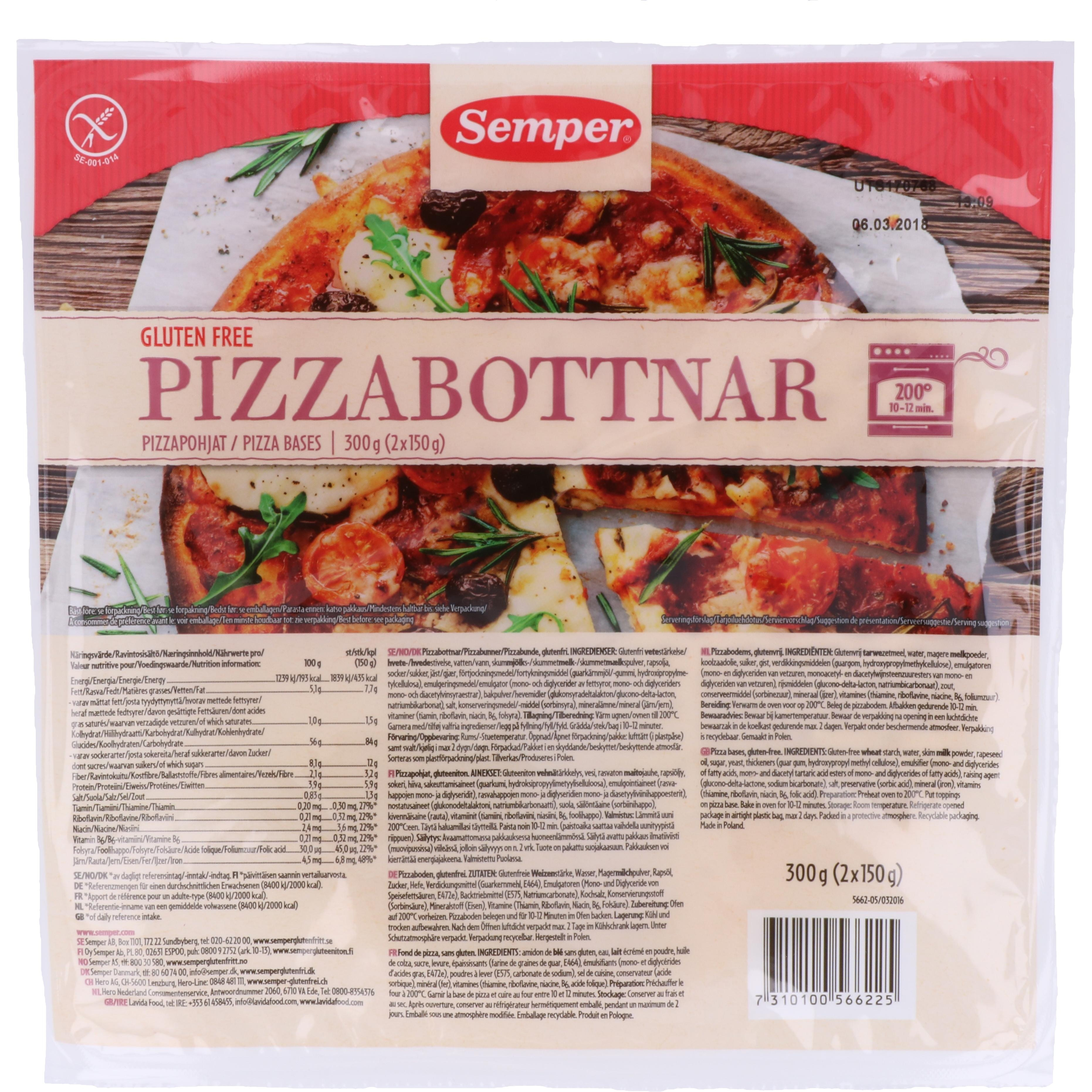 Semper Pizzabottnar Pizzaböden 300g