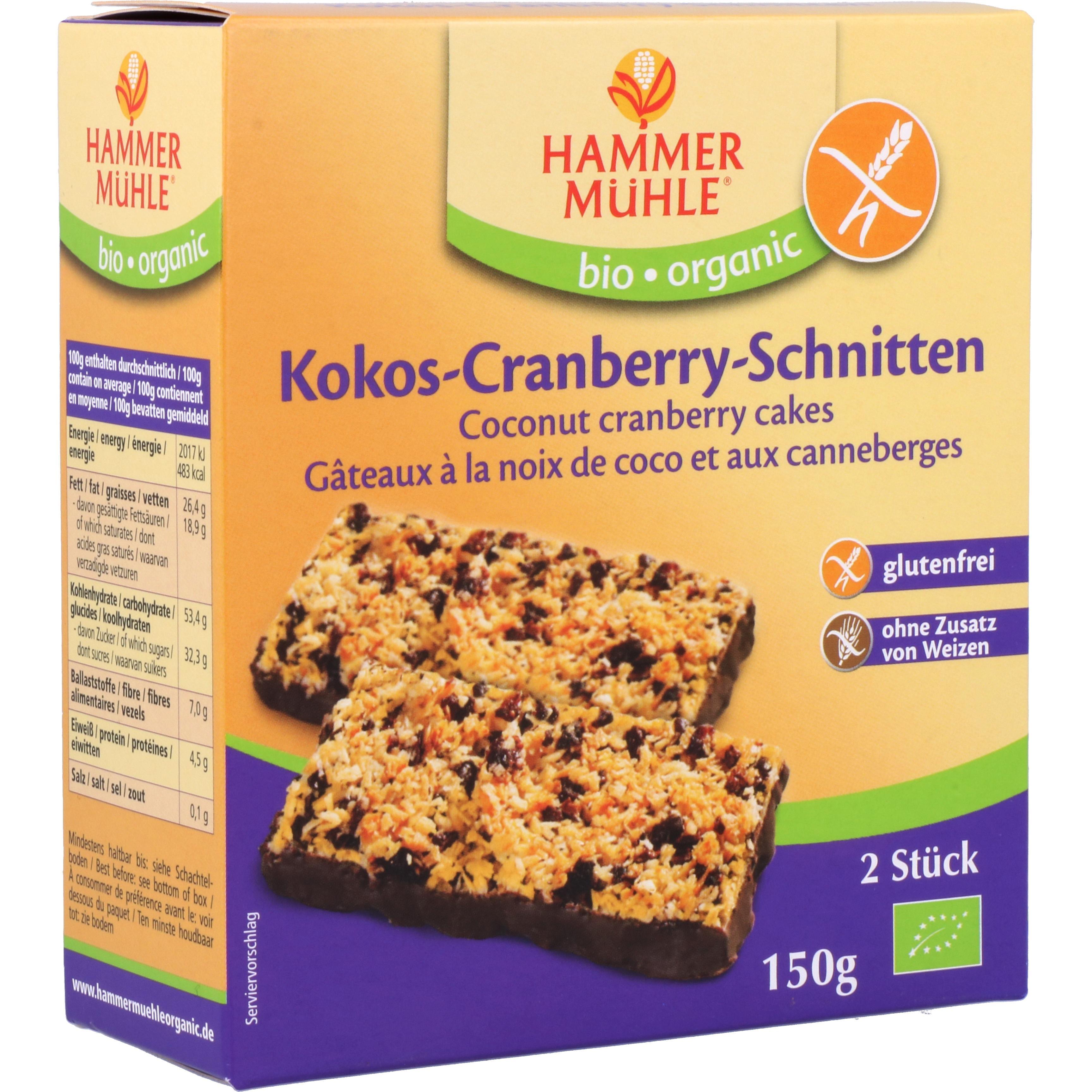 Hammermühle Organic Kokos-Cranberry-Schnitten 150g