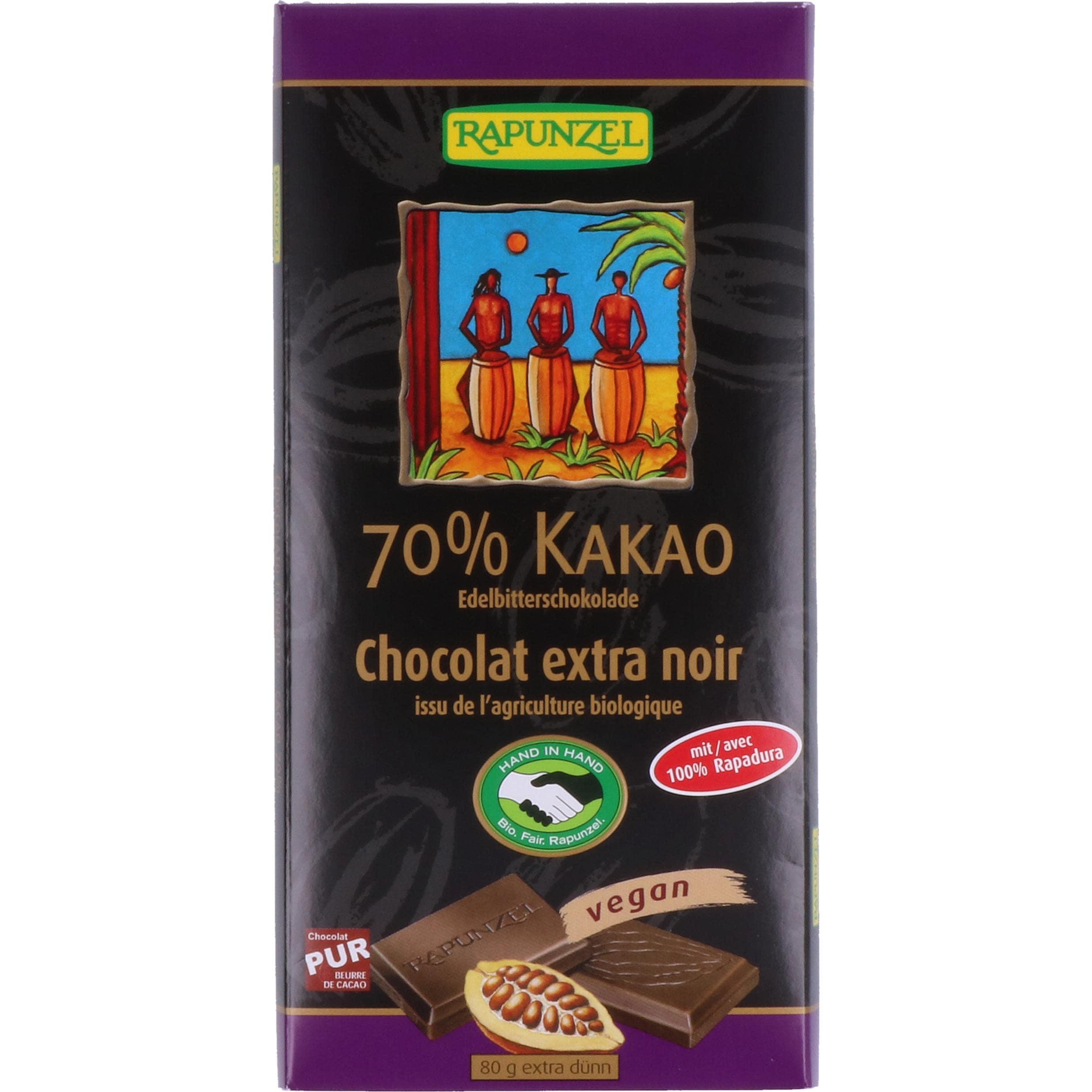 Rapunzel Kakao Crunch Edelbitterschokolade 70% 80g