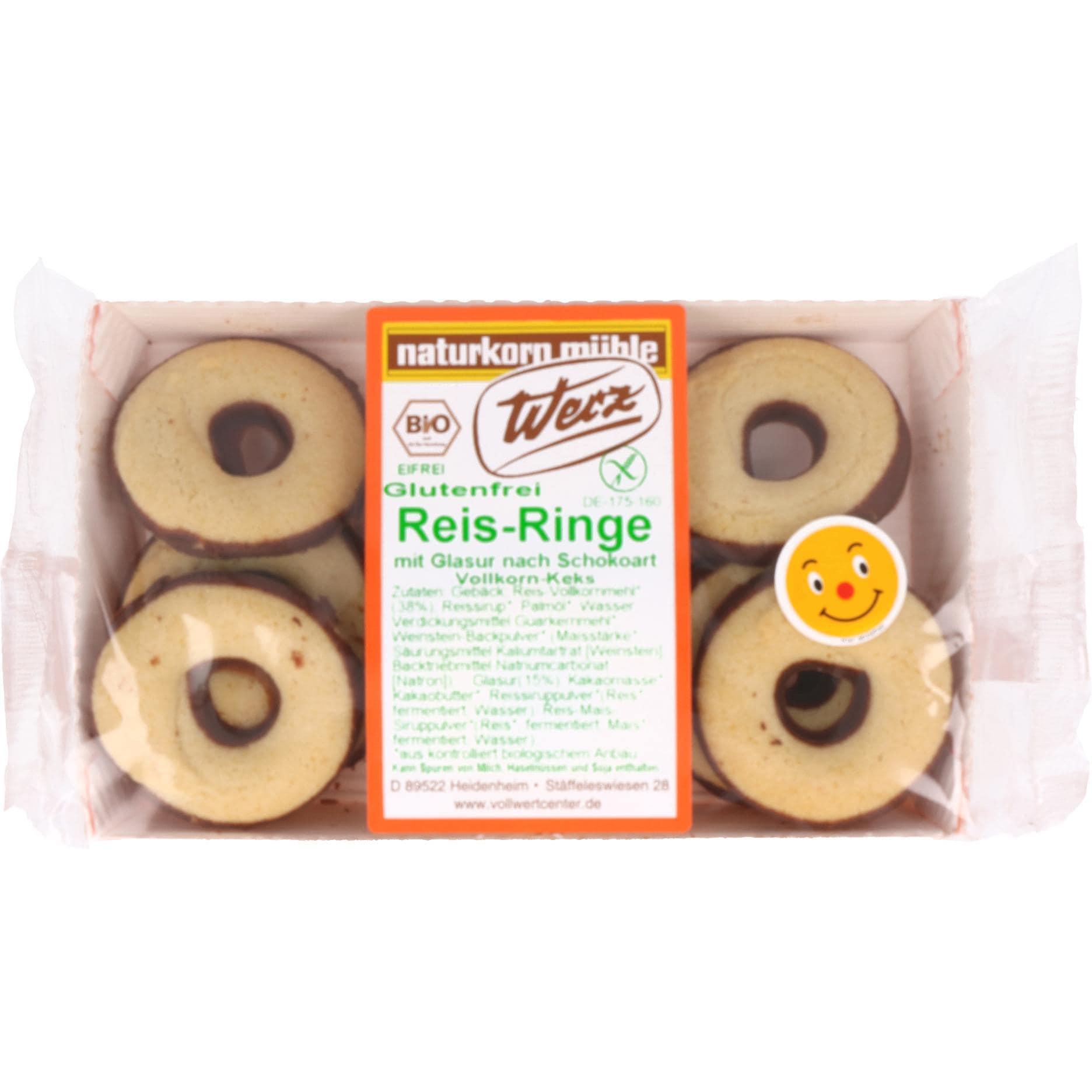 Werz Bio Reis Ringe mit Glasur nach Schokoart 125g